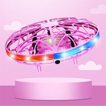 Ulepszony 2.4G UFO indukcja Drone z lampa kolorowa podwójny tryb przełączania inteligentny lot zdalnie sterowany Quadcopter RTF helikopter prezenty
