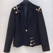 Женская Повседневная куртка весна осень отложной воротник черный приталенный, с одной пуговицей Повседневная Деловая куртка