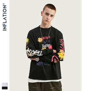 Image 4 - INFLATION Design Men Loose Fit Tee With Graphic Print Men Oversized T shirt Long Sleeve Front & Back Print Men T Shirt 91510W