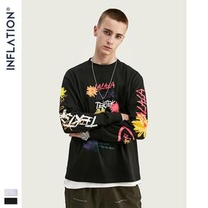Image 4 - אינפלציה עיצוב גברים Loose Fit טי עם גרפי הדפסת גברים רחב מימדים חולצה ארוך שרוול מול & אחורי הדפסת גברים חולצה 91510W