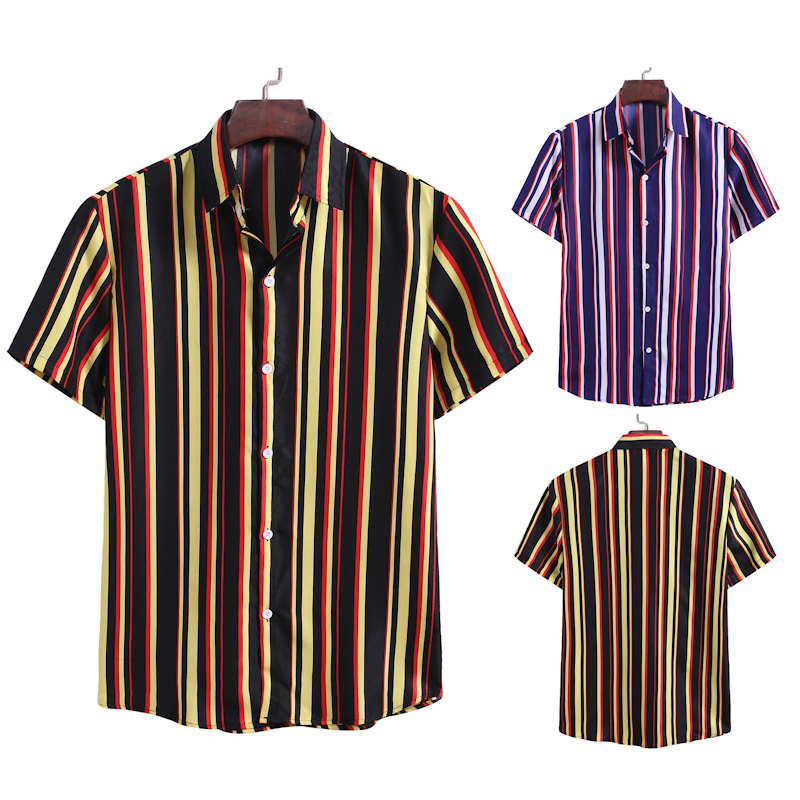 Summer new <font><b>men's</b></font> <font><b>Stripe</b></font> <font><b>Shirt</b></font> casual business <font><b>men's</b></font> <font><b>Short</b></font> <font><b>Sleeve</b></font> <font><b>Shirt</b></font> image