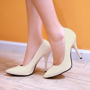 Image 3 - ربيع الخريف كعوب عالية على الموضة أحذية امرأة الكلاسيكية مضخات الوردي الأحمر الأزرق عارية الأخضر الكعوب أشار تو مكتب حفل زفاف حذاء