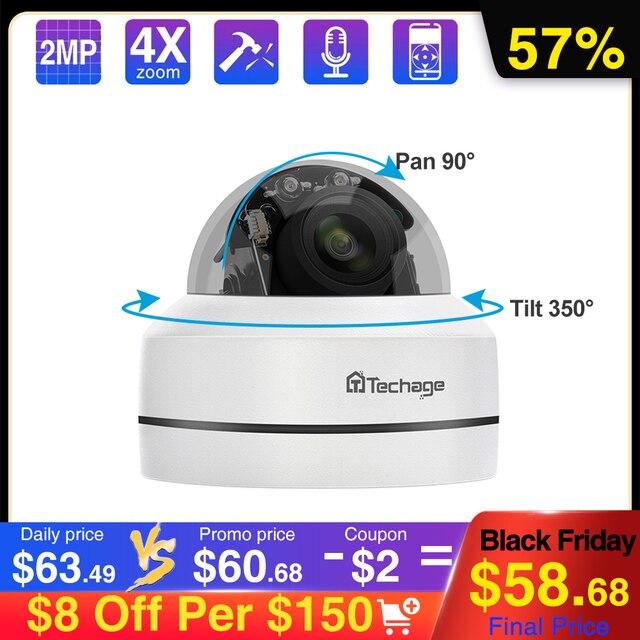 Techage 1080P 4X Zoom PTZ POE IP Camera Mini Speed Dome Âm Thanh Chống Nước 2MP Camera Quan Sát An Ninh P2P Onvif video POE Giám Sát