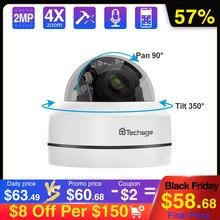 Techage 1080p 4x zoom lente ptz poe câmera ip mini velocidade dome de áudio à prova d2água 2mp cctv segurança p2p onvif vídeo poe vigilância