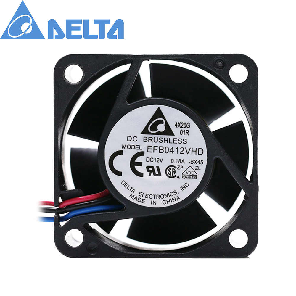 For delta efb0412vhd <font><b>40mm</b></font> 4020 DC <font><b>12v</b></font> 0.18a 4cm server inverter computer cpu axial blower cooling <font><b>fans</b></font> 3pin image