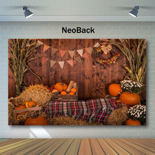 NeoBack Autumn Rural Farm Pumpkins Wheel Haystack Photography Backgrounds Custom Baby Children Background