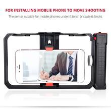 Estabilizador de gaiola de vídeo com alça dupla, kit de suporte para gravação, equipamento com tripé ajustável para celular