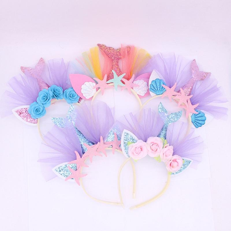 1Pcs Kids Mermaid Headband Glitter Hairband Starfish Mermaid Hairband For Girls Party Kids Hair Tie Birthday Party Decorations
