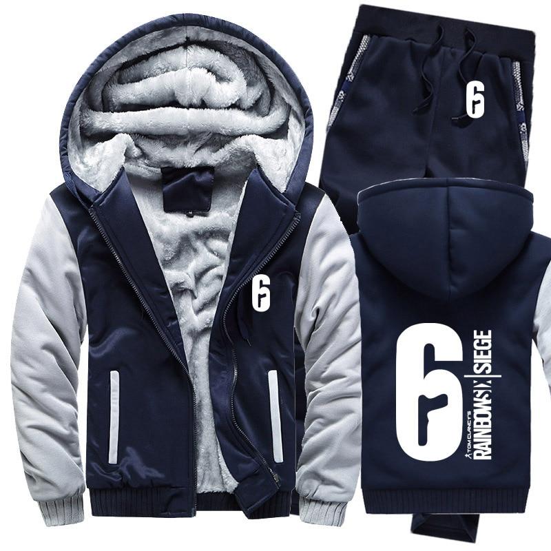 Winter Hoodies Men Rainbow Six Siege Mens Hoodies Suit Thicken Warm Fleece Cotton Zipper Tracksuit Mens Jacket+Pants 2Pcs Sets