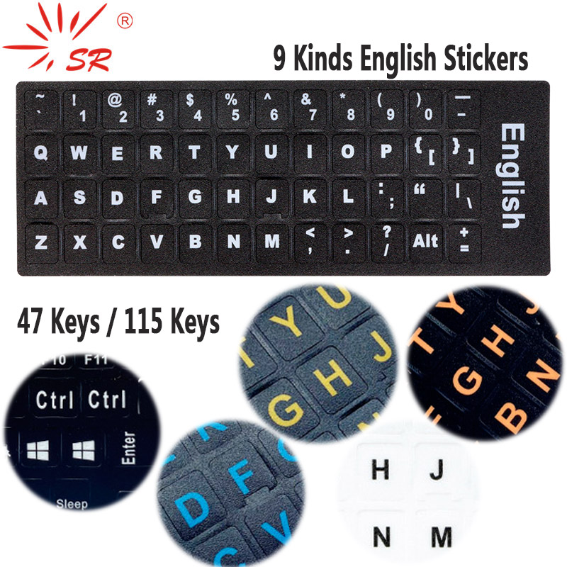 SR English Language 16 Standard Waterproof Keyboard Cover Stickers Layout Button Letters Computer Laptop Skins Accessories