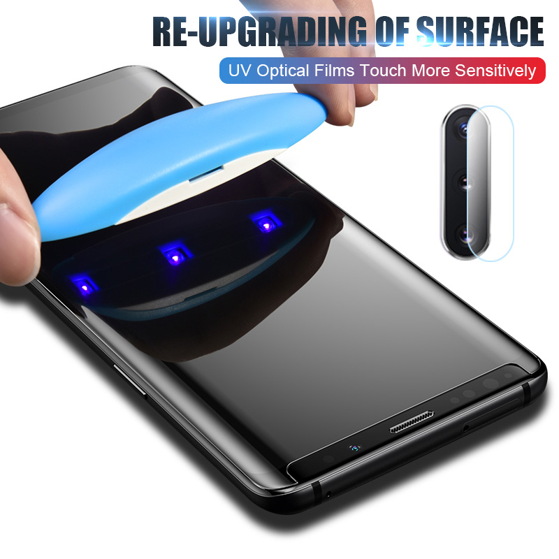 ZNP UV Tempered Glass For Samsung Galaxy S10 S9 S8 Plus Full Cover Liquid Screen Protector For Samsung Note 8 9 With Lens Glass