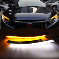 Daytime Running Light DRL Blink Water Flowing LED Headlight Eyebrow Yellow Turn Signal Night Blue For Honda Civic 2016 2017