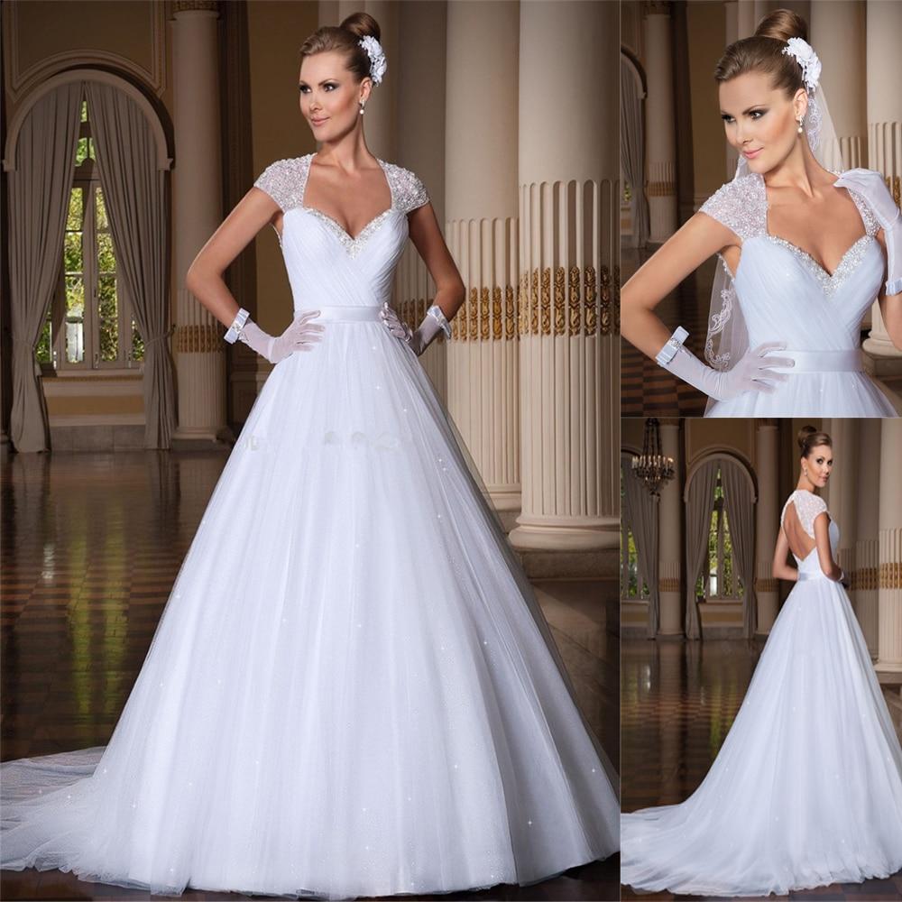 Beautiful Cap Short Sleeves A-Line Wedding Dresses Beading Shoulder Bridal Gowns Custom Made Formal Long Princess With Ribbon