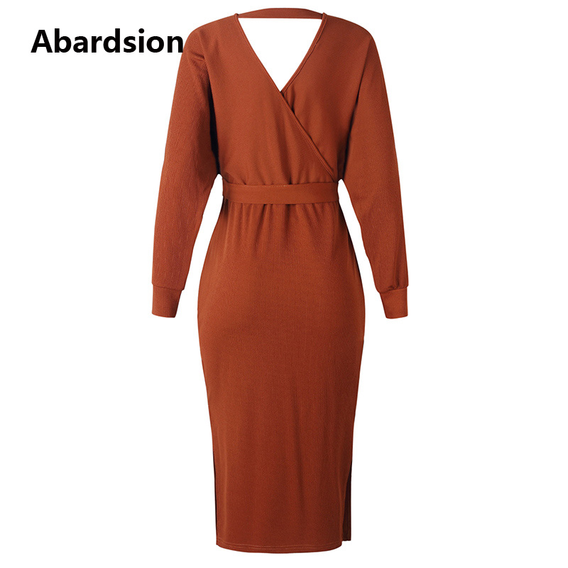 Abardsion Women Knitted Sweater Dress Wrap Belted Tunic Midi Vestidos Long Sleeve Double V Neck Split Casual Autumn Dresses 19 10