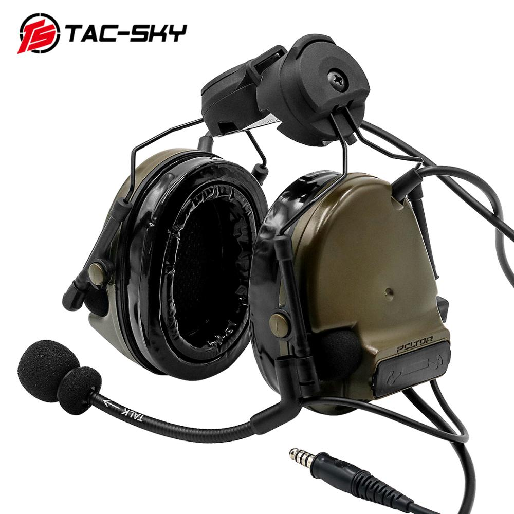 TAC-SKY COMTAC III Helmet fast rail bracket version Silicone earmuff version Noise reduction pickup headset -FG