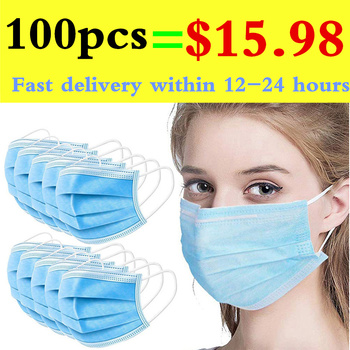 100pcs Mask Disposable Three-layer Nonwove Mask Anti Dust Mouth Mask Windproof Face Masks Mascarilla In Stock 24 Hours Fast Ship
