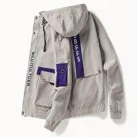 Men's zipper hooded overalls jacket Japanese streetwear armband patchwork biker vintage masculine jackets coats windbreaker men