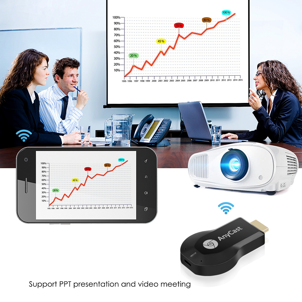 For AnyCast Screen Mirroring M2 HDMI TV Stick WiFi Display TV Dongle Receiver for Miracast Airplay Phone Android PC