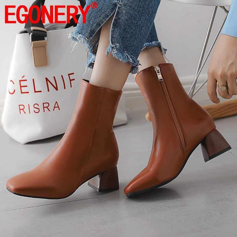 EGONERY büro frauen schuhe fashion zipper braun beige schwarz stiefeletten winter herbst plüsch karree 5cm mid heels booties