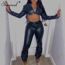 Simenual Faux PU skóra wysokiej talii ułożone spodnie jesień 2021 kobiety odzież moda czarny Bodycon klub Partywear długie spodnie
