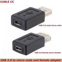 Wholesale black USB 2.0 Type A female to micro USB B female adapter plug converter USB 2.0 to micro USB connector good quality