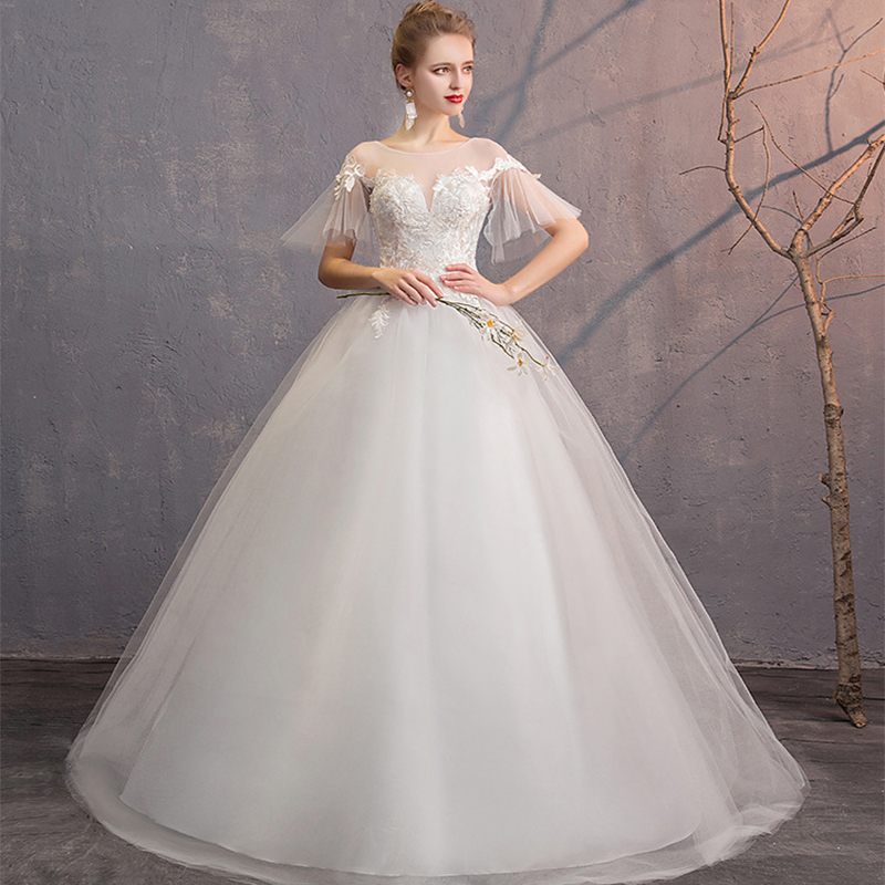 Vestido De Noiva Elegant Lace Wedding Dresses O-Neck Short Sleeve Ball Gown Embroidery White Bride Gowns Robe De Mariee 2019