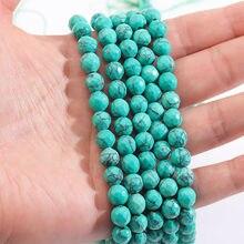Hurtownie naturalny niebieski turkusowy kamienny koralik Faceted okrągły element dystansowy Gems 15 ''6/8mm do tworzenia biżuterii DIY bransoletka Handwork rzemiosło