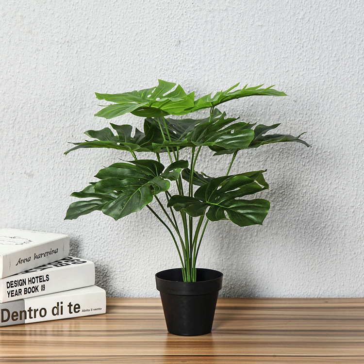 50CM 12 Leaves Glued Silk Artificial Fake Green Tree Plants Real Touch Lifelike Small Tree With Pot Indoor Table Decor