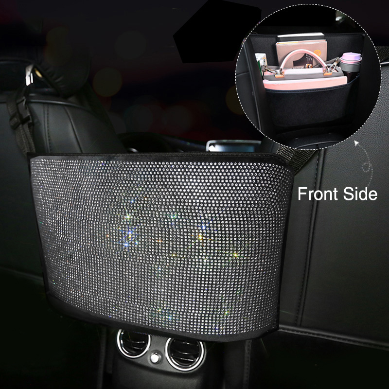 moda strass saco de armazenamento de carro organizador assento de volta titular cristal diamante multi bolsos
