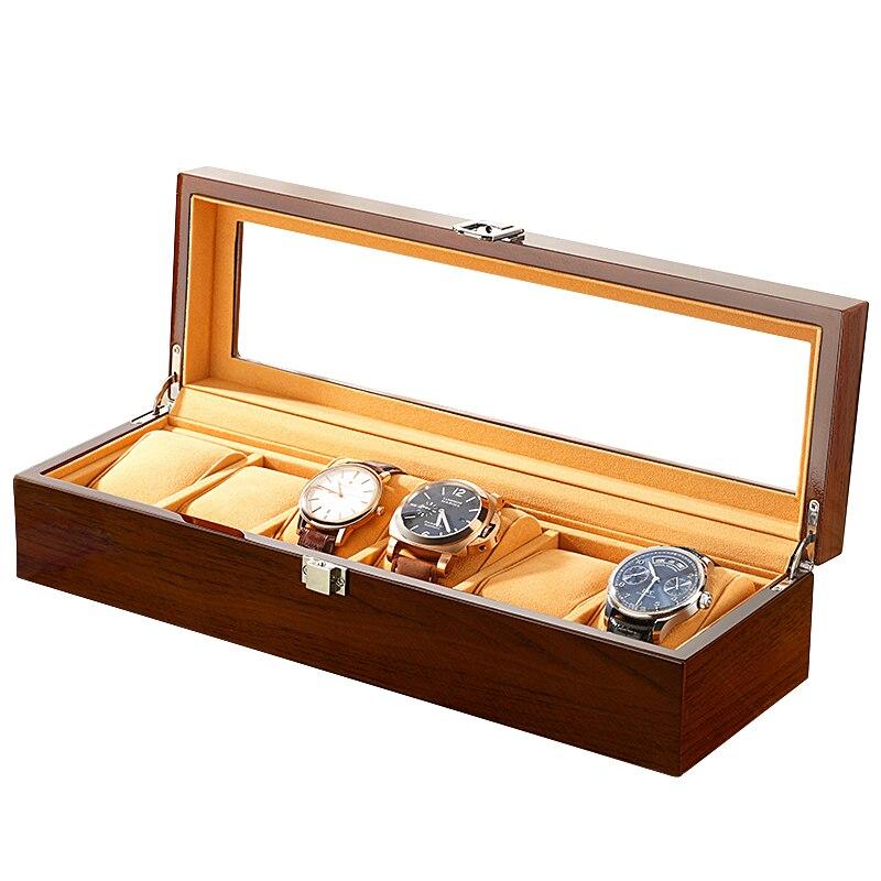 6 fentes en bois matériel boîtes de montre pour hommes ou magasin affichage montres pratique bijoux montre rangement organisateur cas