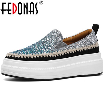 FEDONAS  Quality Spring Summer 2020 Glitters Women Shoes Gradient Classic Fashion Round Toe Shoes Prom Party Basic Shoes Woman