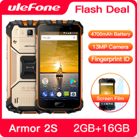 Ulefone Armor 2S Waterproof IP68 NFC Mobile Phone 5.0 FHD MTK6737T Quad Core Android 7.0 2GB+16GB 4G Global Version Smartphone
