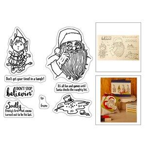 2020 Новый гномик эльфы Рождество слово Санта Клаус шляпа прозрачный штамп и металл резки Плашки для создания скрапбукинга фотоальбом