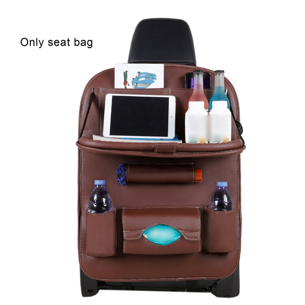 PU Leather Car Seat Back Organiser with Foldable Tray 1