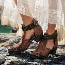 women pumps high heels cut out sandals shoes woman vintage PU leather gladiator zapatos de mujer  women platform shoes c40 цена 2017