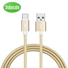 Shuliancable usb tipo c cabo trançado de dados carregador rápido cabo para samsung xiaomi redmi nota 7 mi 9t USB-C cabo 1m 1.5m 2m