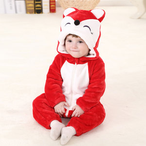 Image 2 - Umorden Baby Red Fox Costume Kigurumi Cartoon Animal Rompers Infant Toddler Child Jumpsuit Onesie Flannel Halloween Fancy Dress