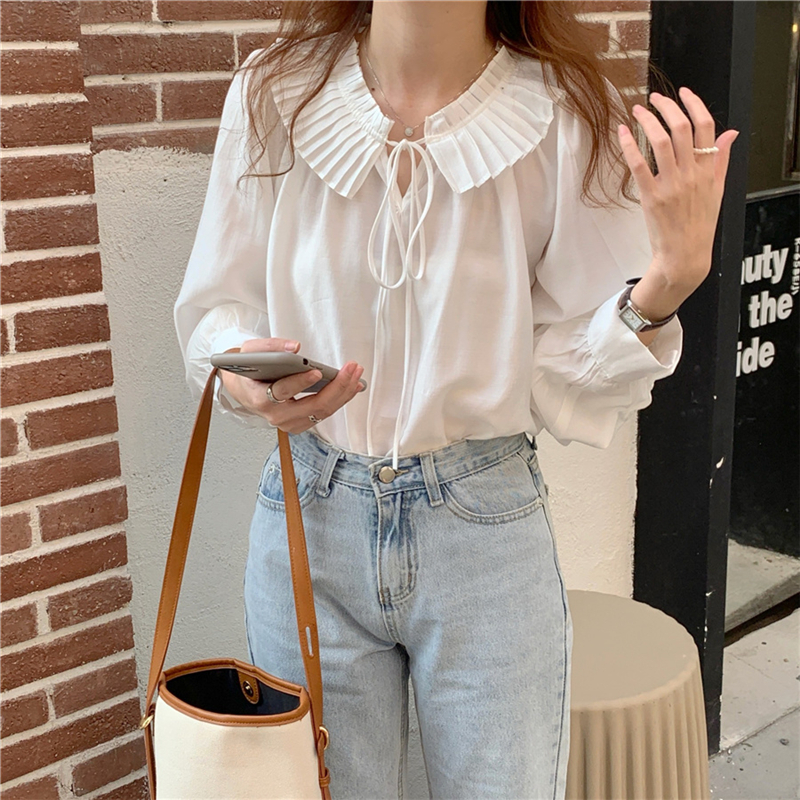 H4f12665973374f2a9b9c5a680f53d8cdP - Spring / Autumn Lace-Up Collar Long Sleeves Loose Solid Blouse