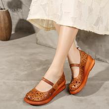 Handmade Leather Platform Shoes Women Fashion Mary Jany Hollow Sandal Coffee/Brown