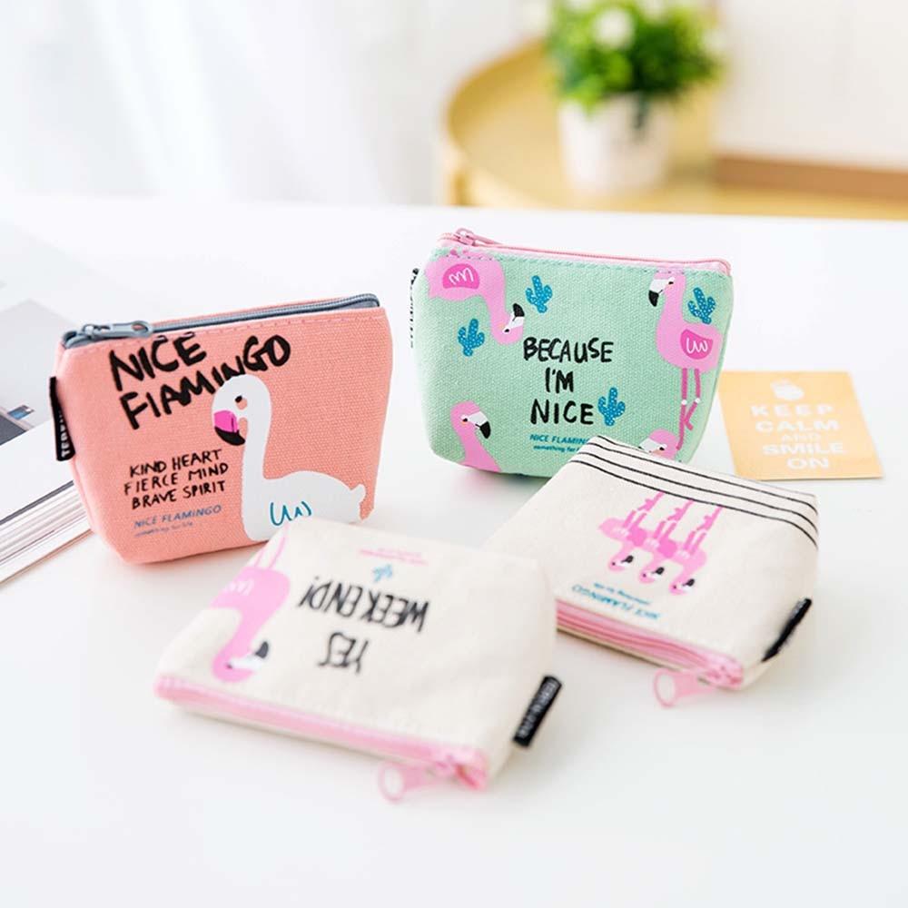 ISKYBOB Women Girls Women Girls Coin Purse Flamingo Canvas Zipper Wallet Key Holder Mini Pouch Bags
