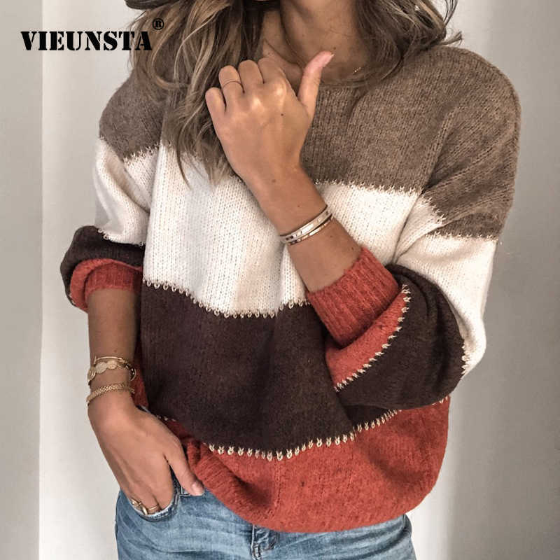 VIEUNSTA Fashion Patchwork O-neck Autumn Winter Sweater 2019 Women Long Sleeve Warm Knitted Sweaters Pullover Female Tops Jumper