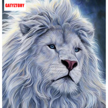 GATYZTORY 3D Diamond Painting Full Square Drill Home Decor Craft DIY Embroidery Rhinestone Mosaic Picture Custom Photo Lion Head(China)