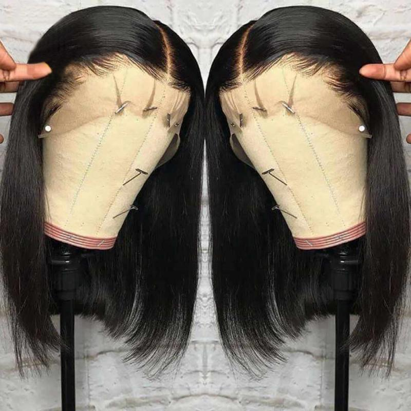Short Lace Front Human Hair Wigs 12/14/16 Inches Brazilian Straight Bob Wig Pre Plucked With High Temperature Fiber Baby Hair