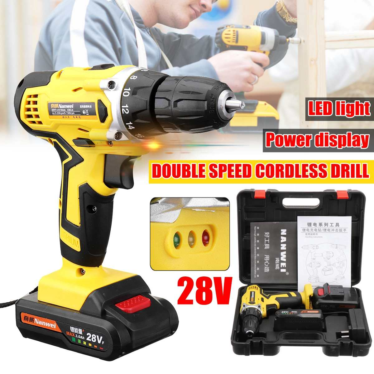 28V Electric Cordless Drill Driver Screwdriver Li-Ion Battery LED Light Battery 1/2-Inch 2-Speed