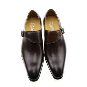 Image 5 - גודל 13 מותג מעצב גברים שמלת נעלי 2020 עור אמיתי אבזם נזיר רצועת גברים של חום שחור משרד המפלגה פורמליות mens נעליים