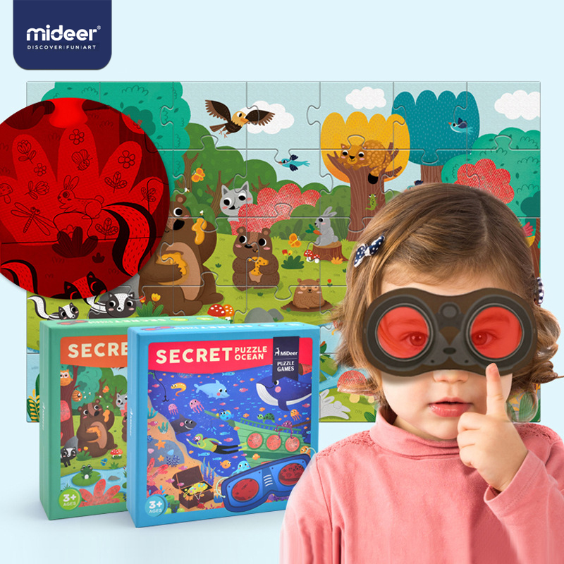 MiDeer 35PCS Children's Jigsaw Puzzle Children's Exploratory Puzzle Matching Secret Glasses Cartoon Toy 3-6 Years Gifts