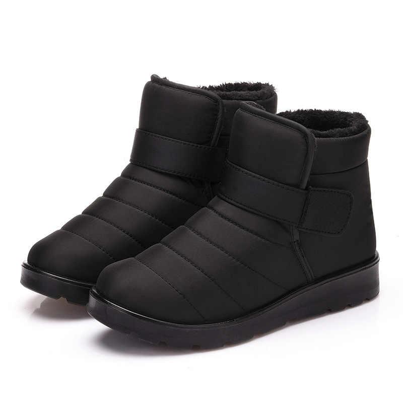 Yeni Moda Kadın Botları Yüksek Kaliteli Su Geçirmez Ayak Bileği Kar Botları Ayakkabı Sıcak Kürk Peluş Kış Ayakkabı