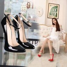 Женская обувь на очень высоком каблуке с ремешком и пряжкой