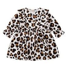 Осеннее детское платье с длинными рукавами и леопардовым принтом