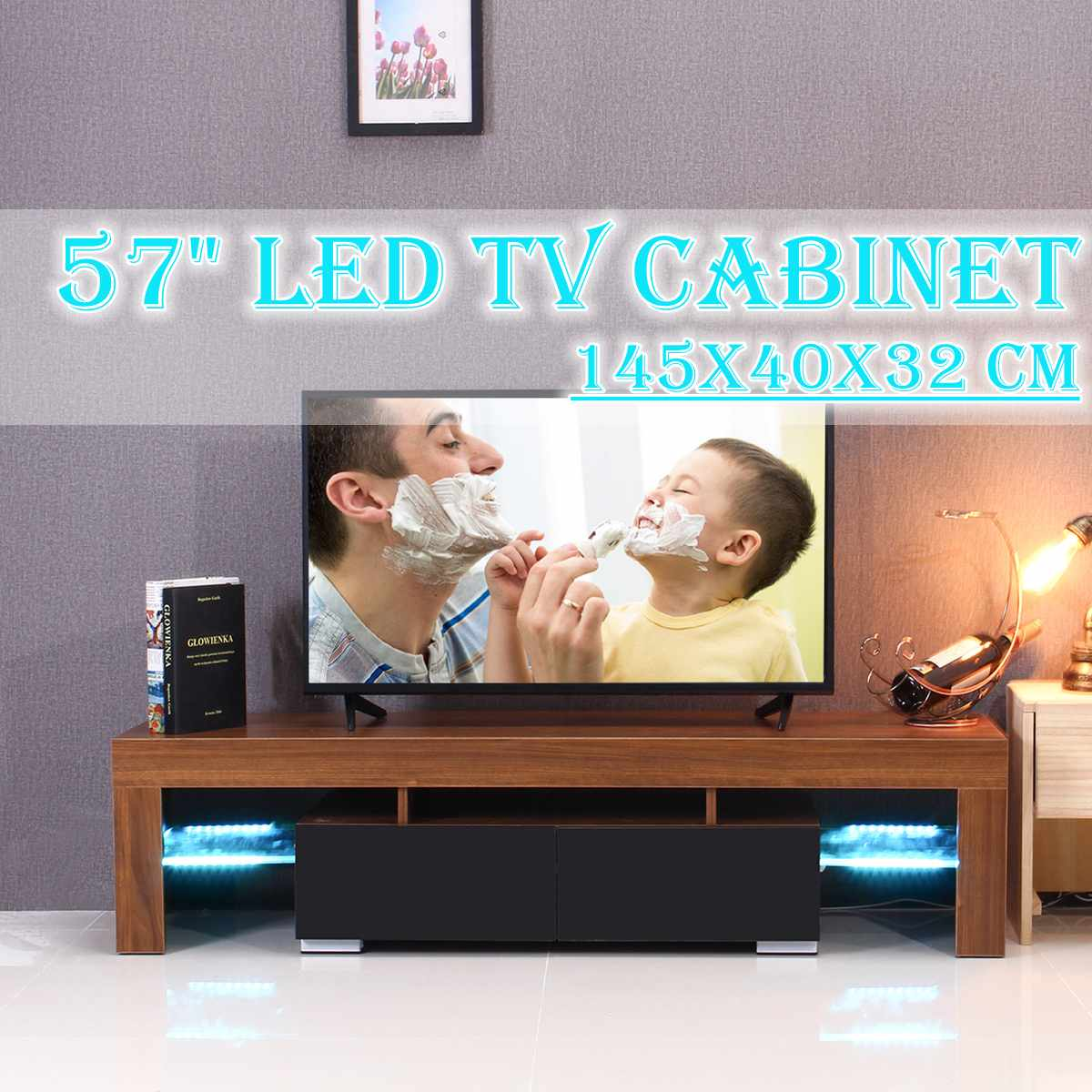 57'' White/Black/Wood TV Unit Cabinet Stand LED Light High Gloss  Table  Living Room Meuble TV Bedroom Furniture Desk US